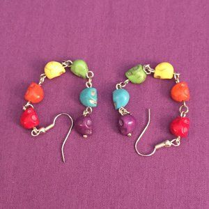Rainbow Skull Dangle Hook Earrings